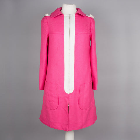 1960s pink linen mod coat by Miss Feraud