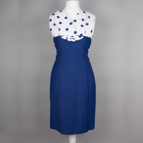 1960s blue and white vintage wiggle dress