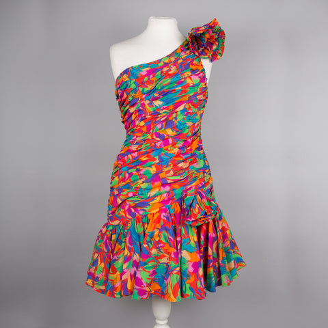 RESERVED for Lisa - 1980s colourful cocktail dress by Bernshaw