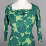 1960s green floral cocktail dress by Marcusa