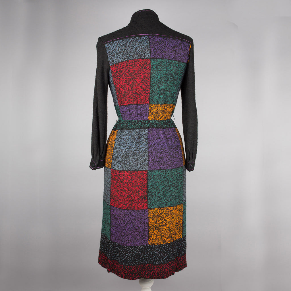 1970s boucle check vintage day dress