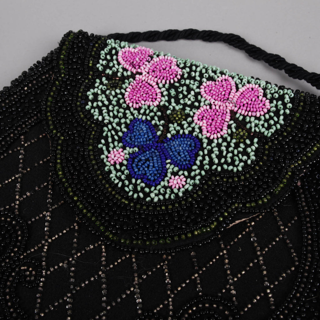 Black 1960s vintage beaded clover purse