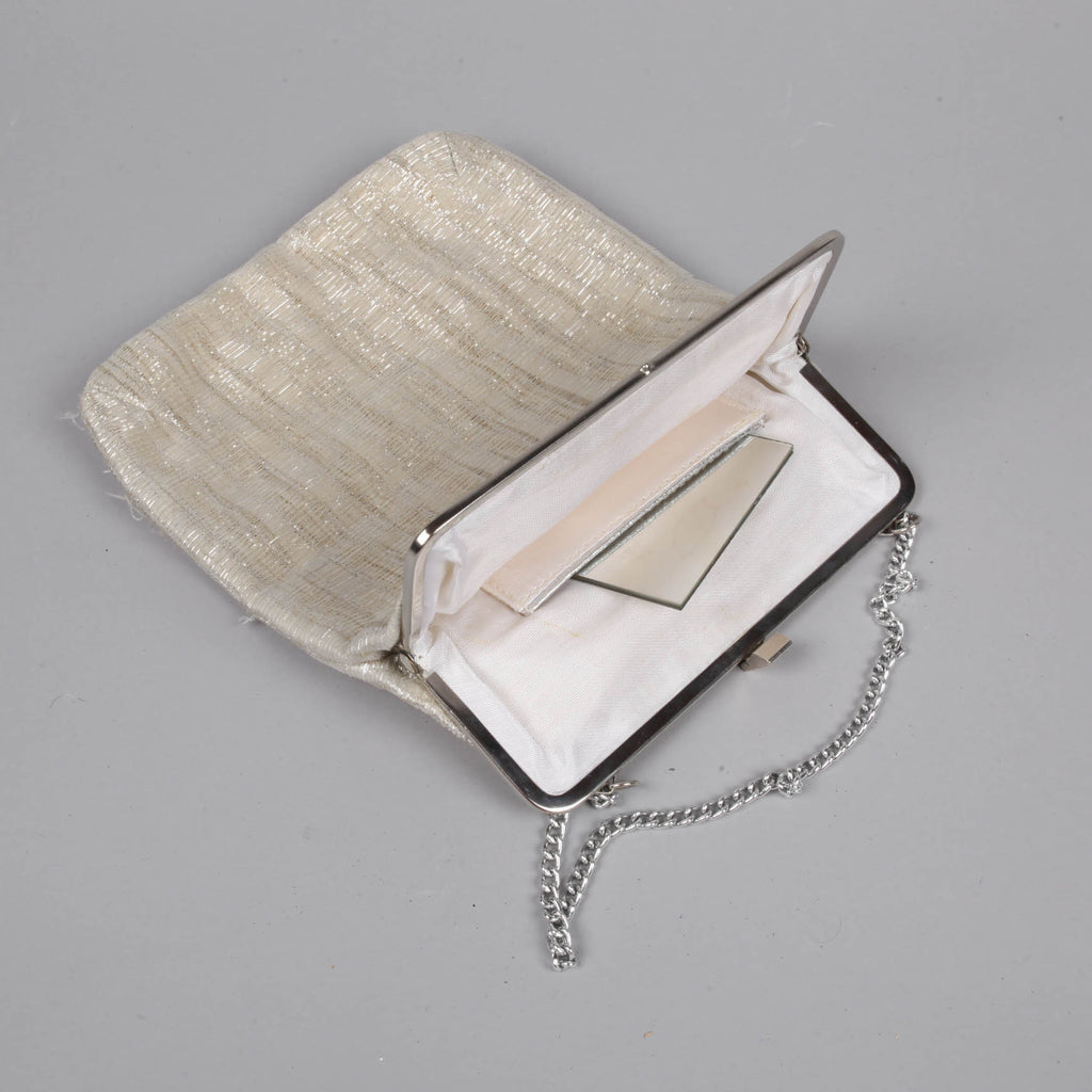 Shimmering cream and silver vintage 1960s evening bag