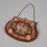 1950s brown needlepoint vintage bag
