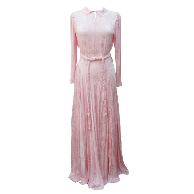 1940s pink liquid satin evening gown