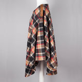 Red black and tan plaid vintage poncho