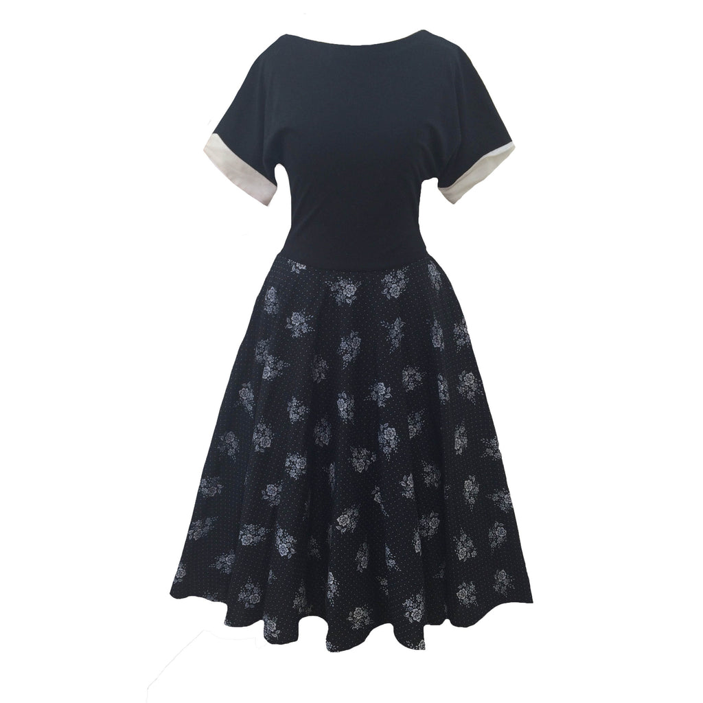 1980s monochrome vintage rockabilly dress