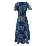 1970s graphic print vintage maxi dress