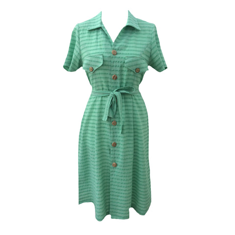 1980s green stripe vintage shirt dress