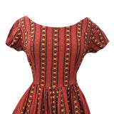 1950s terracotta striped vintage dress