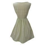 1950s pea green vintage eyelet dress
