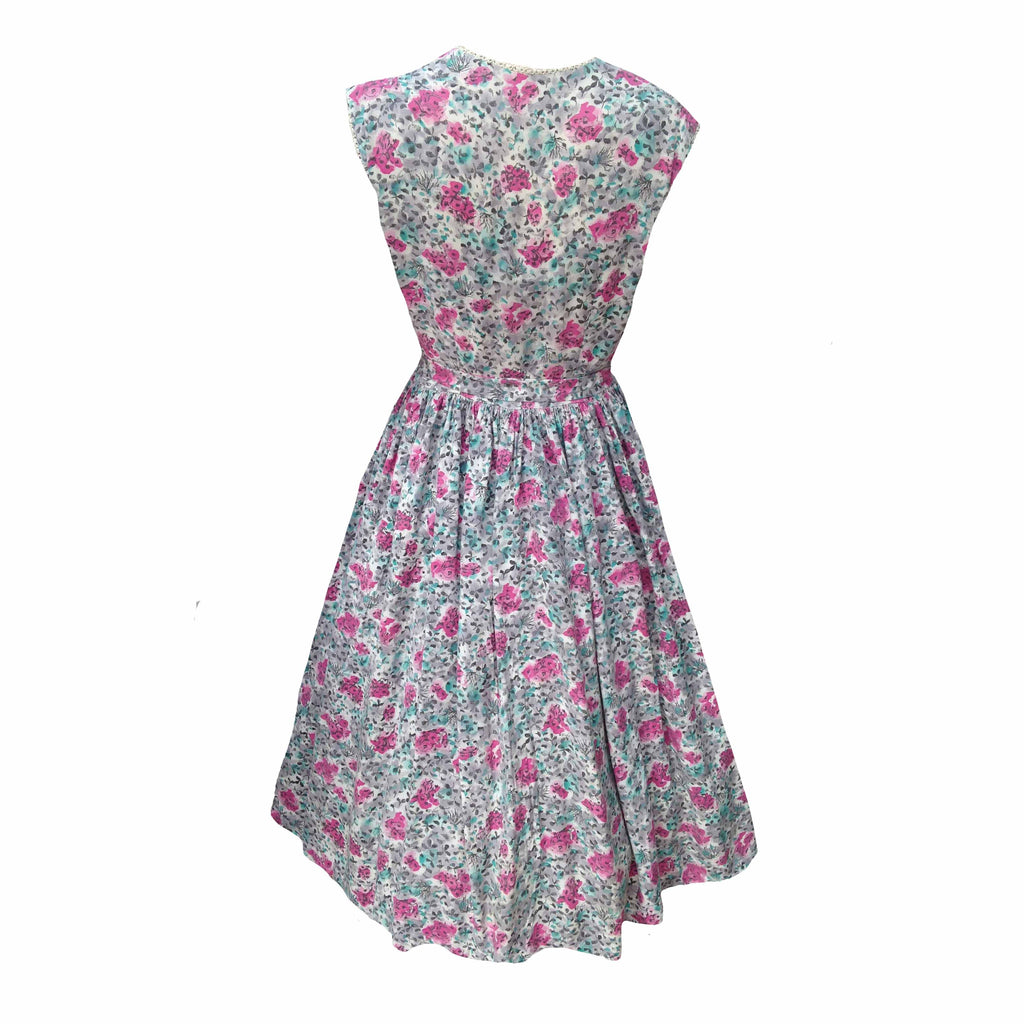 1950s pink and grey vintage dress