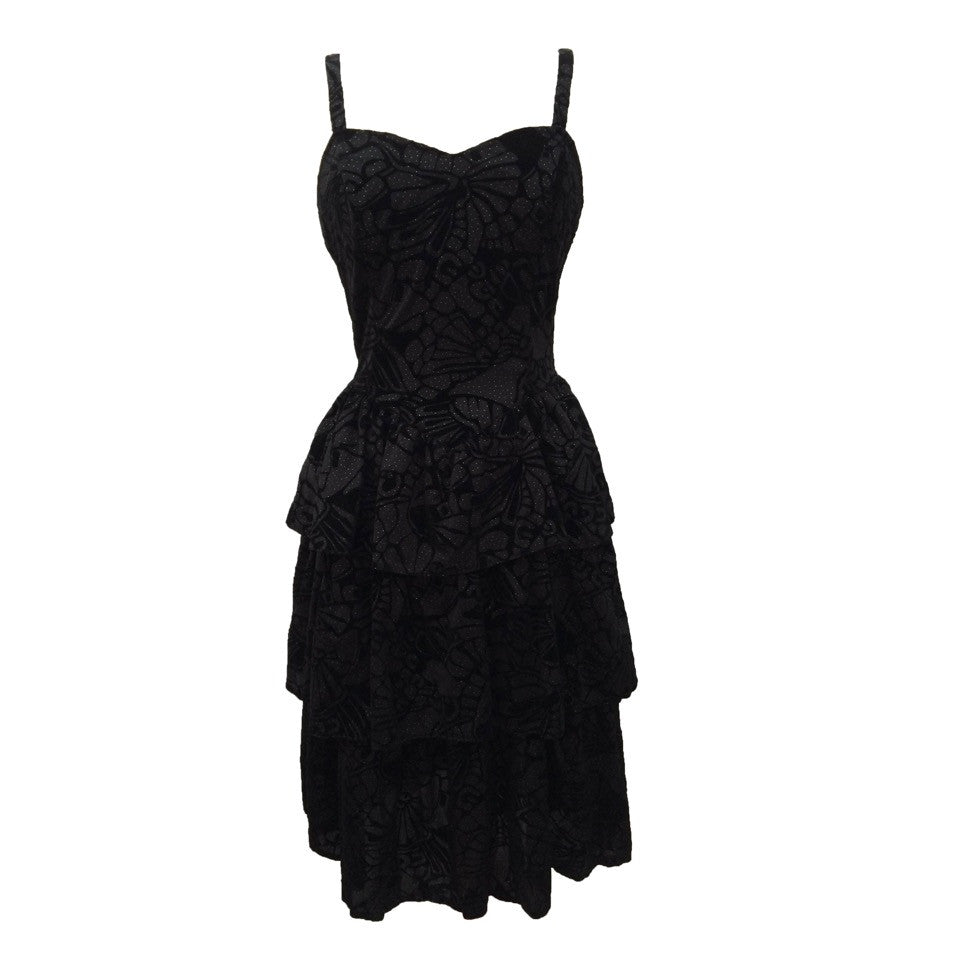 1980s black flocked vintage party dress