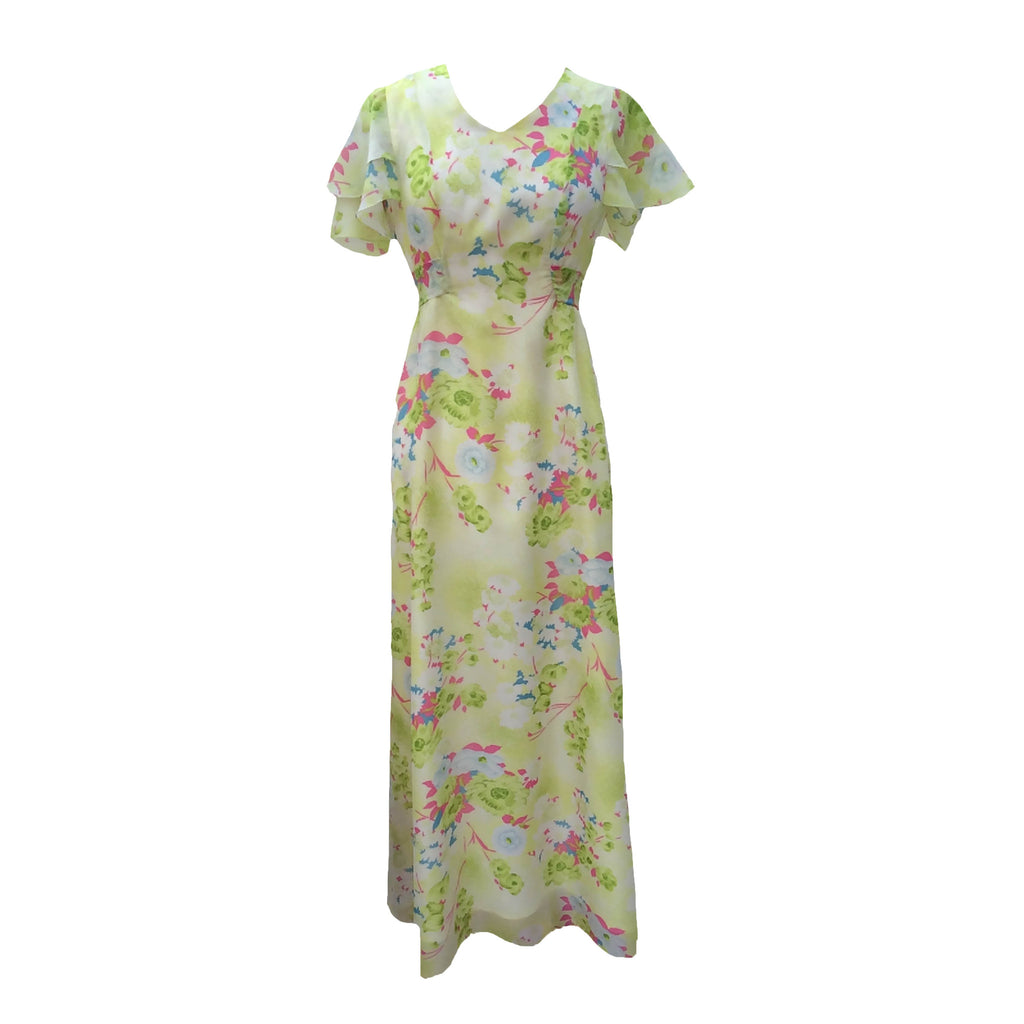 1970s floral flutter sleeve maxi dress