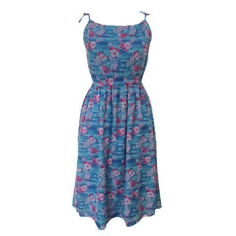 1960s blue and pink strappy midi dress