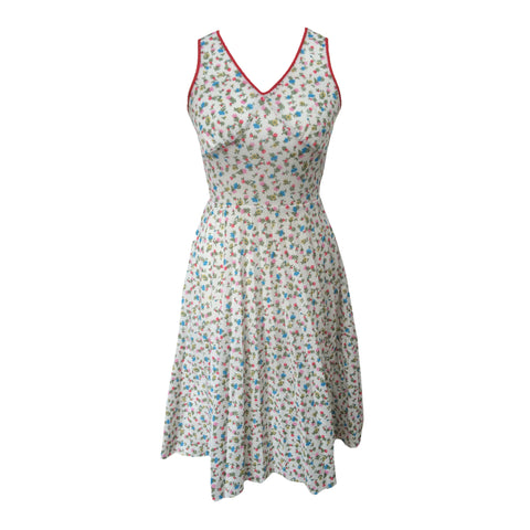 1970s ditsy print vintage midi tea dress