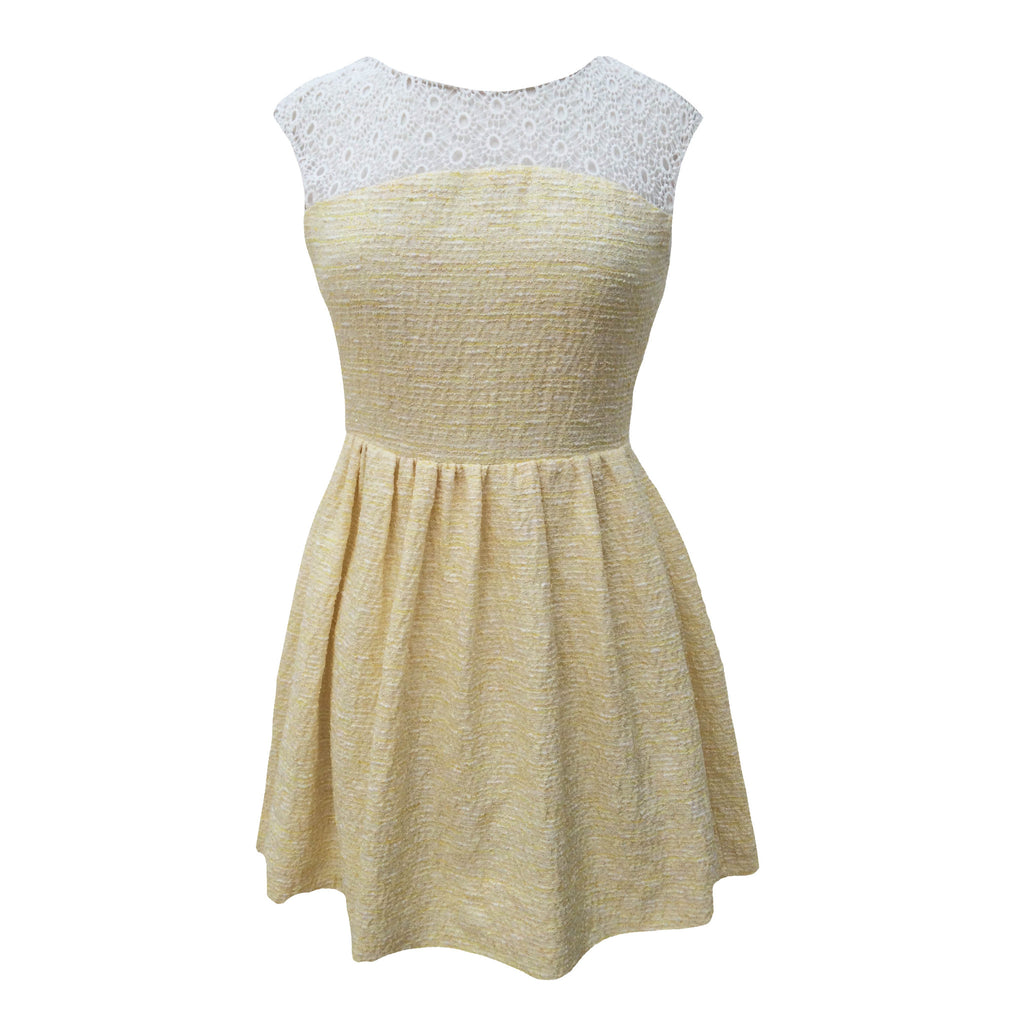1980s lemon boucle vintage dress