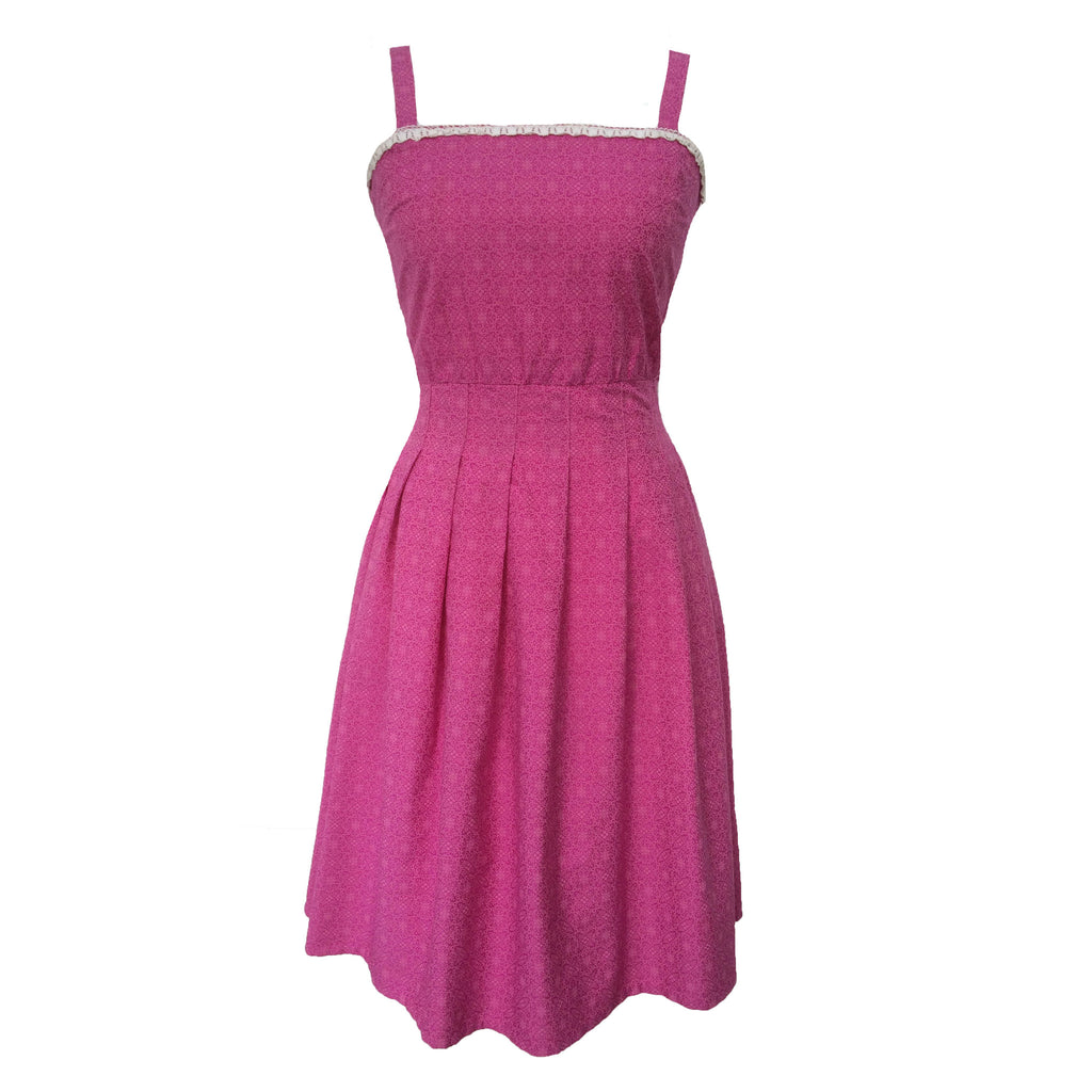 1960s pink strappy vintage tea dress