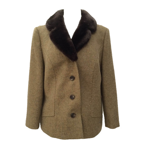 1960s tweed jacket with faux fur collar