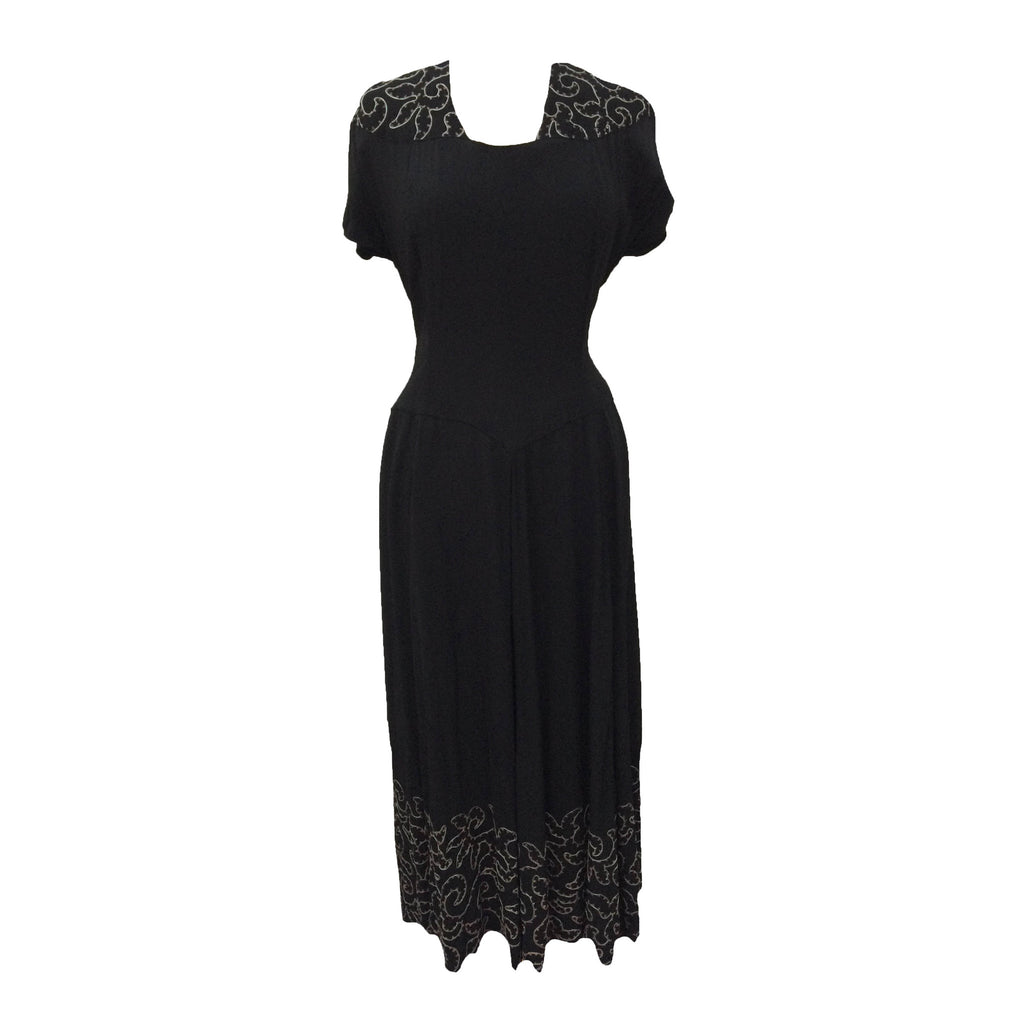 1940s black rayon vintage evening gown