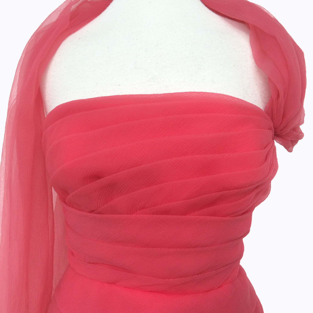 1950s pink chiffon vintage cocktail dress