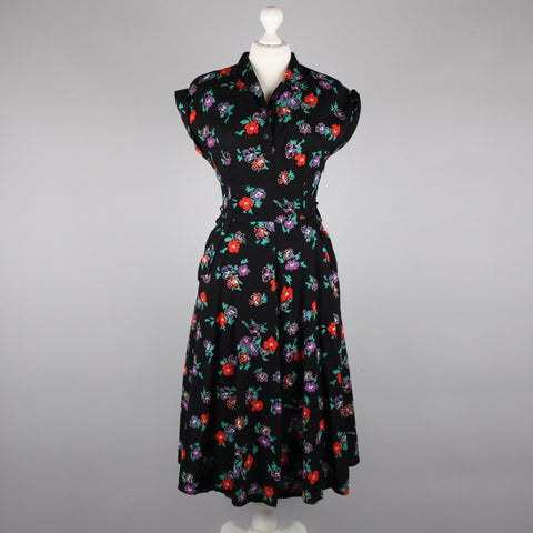 1980s black crinkle cotton tea dress