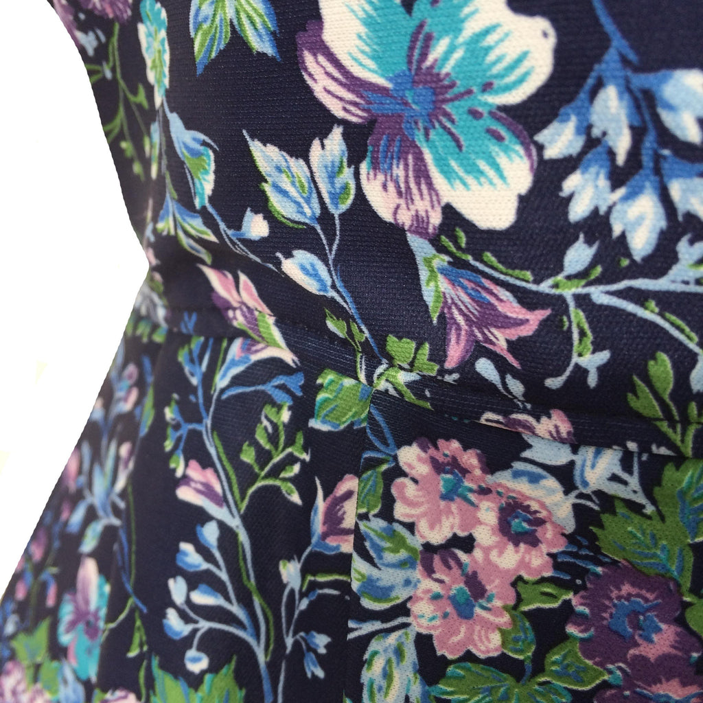 1980s antique floral print tea dress