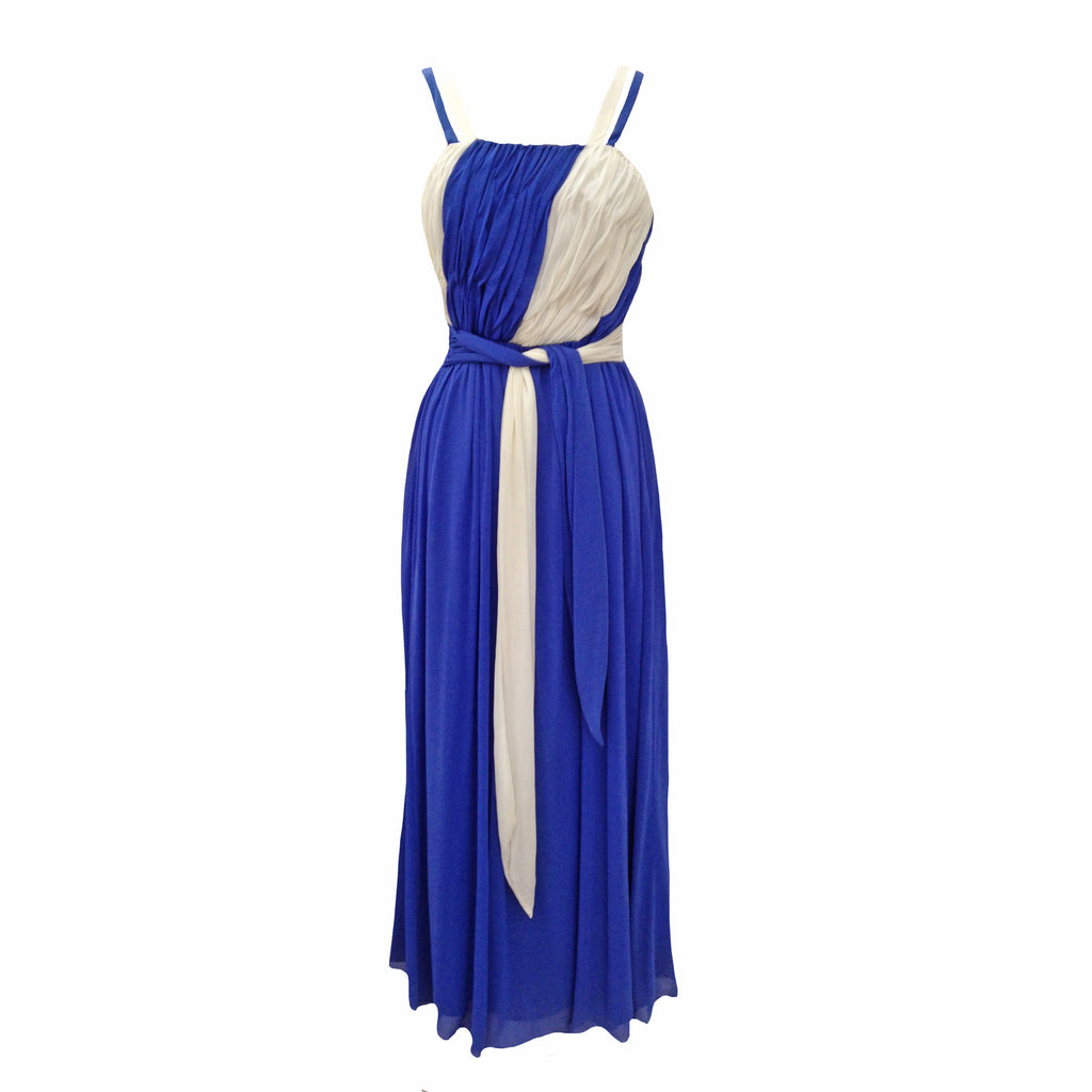 1980s blue and white floaty prom dress