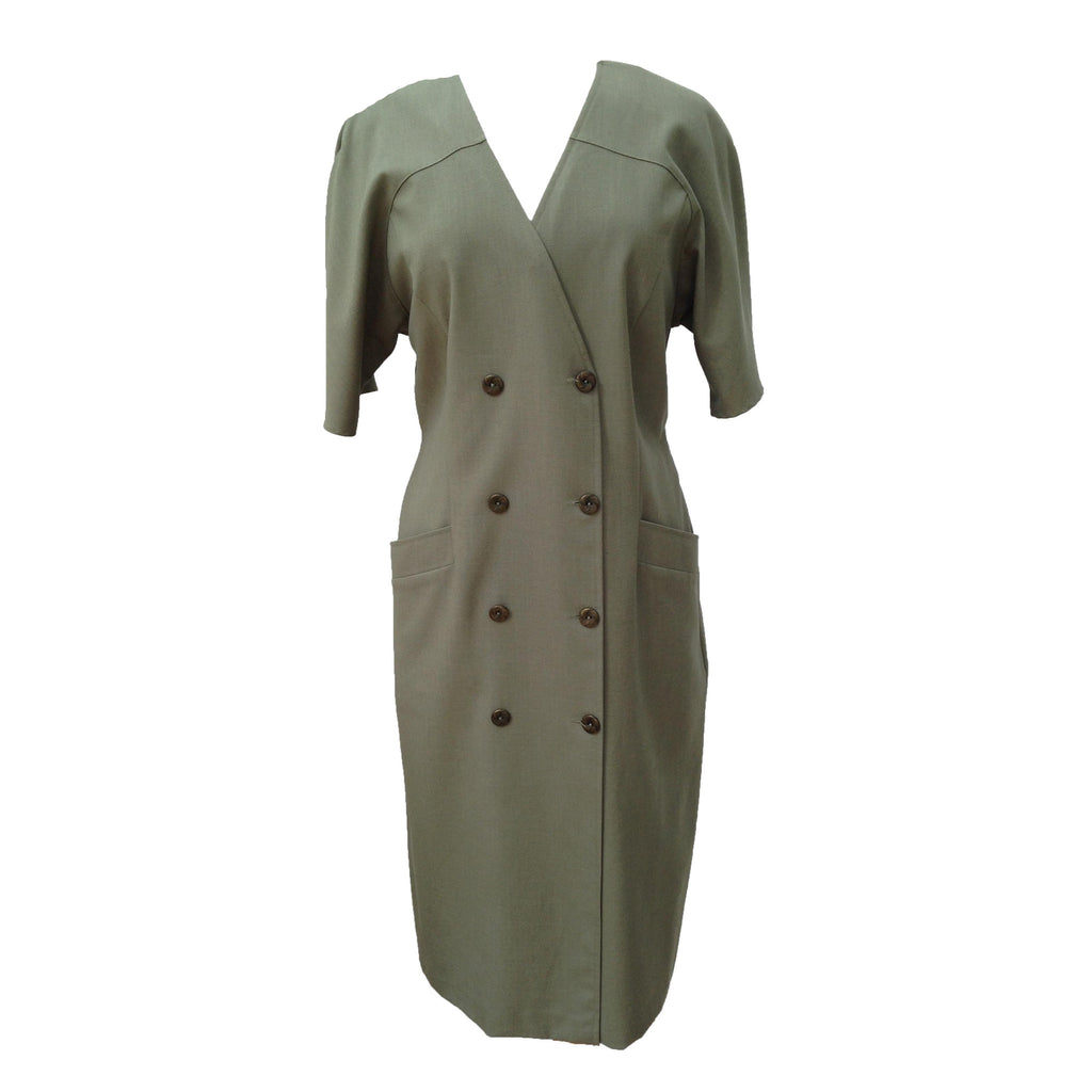 1980s green coat dress by St Michael