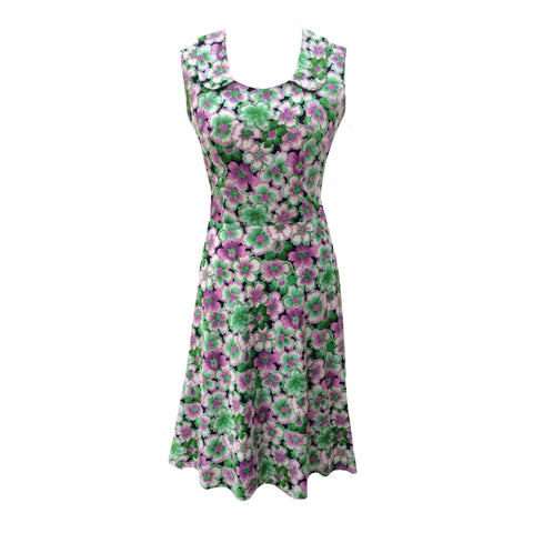 1960s lilac and green floral tea dress