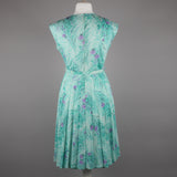 1970s aqua and lilac pleat skirt dress