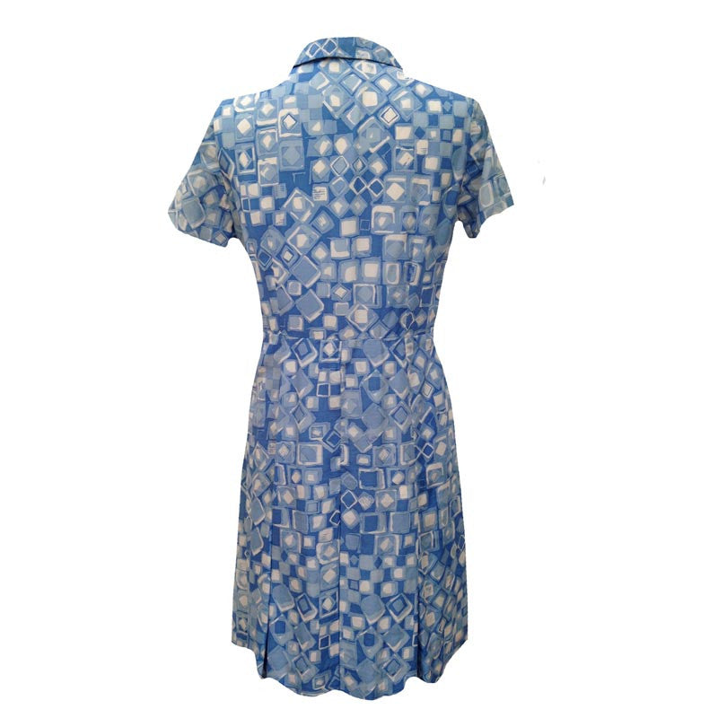 1950s blue silk vintage shirt waister dress