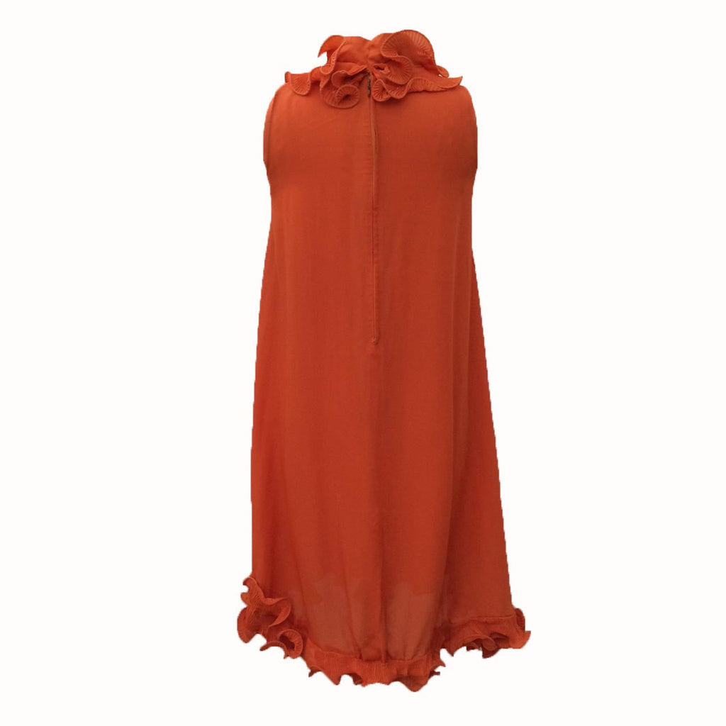 1960s orange curled hem vintage dress