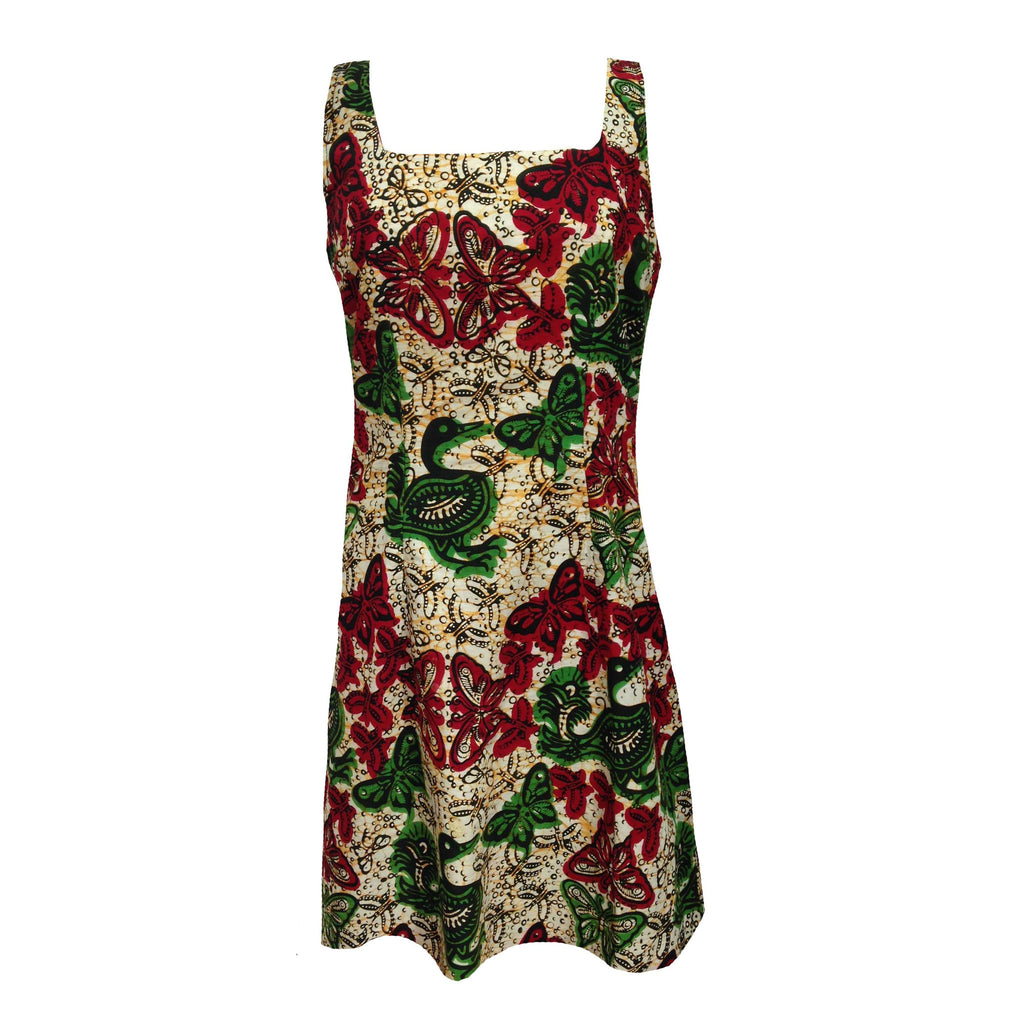 1980s batik print vintage shift dress