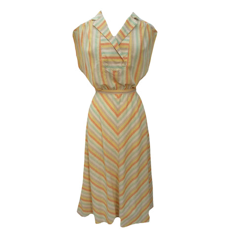 1980s citrus stripe easywear midi dress