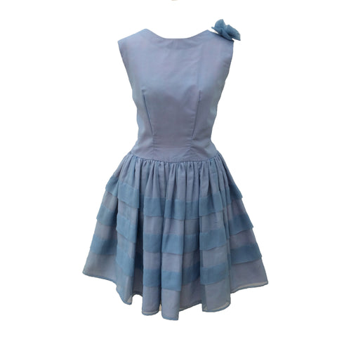 1960s blue chiffon vintage party dress