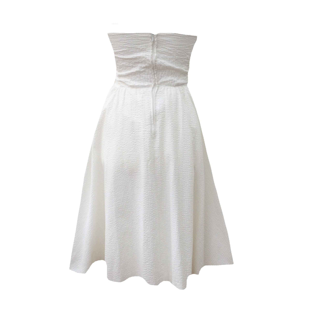 1980s strapless white vintage prom dress