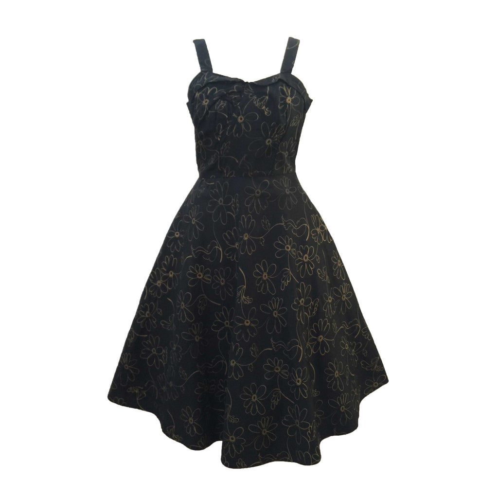 1950s black and gold vintage party dress