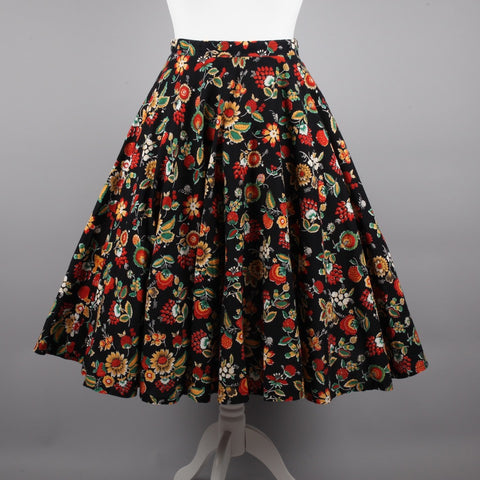 1980s does 50s bramble print circle skirt