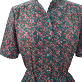 1980s green floral vintage tea dress