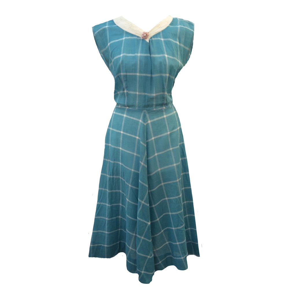 1950s delicate blue check vintage dress