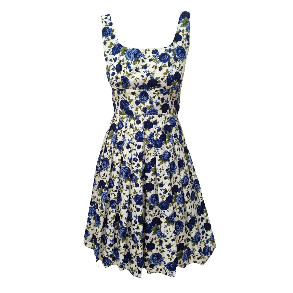 Reproduction 1950s blue roses dress 6 petite