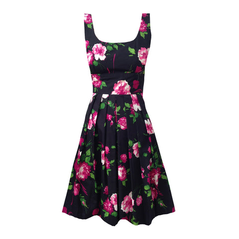 Reproduction 1950s pink roses dress 6