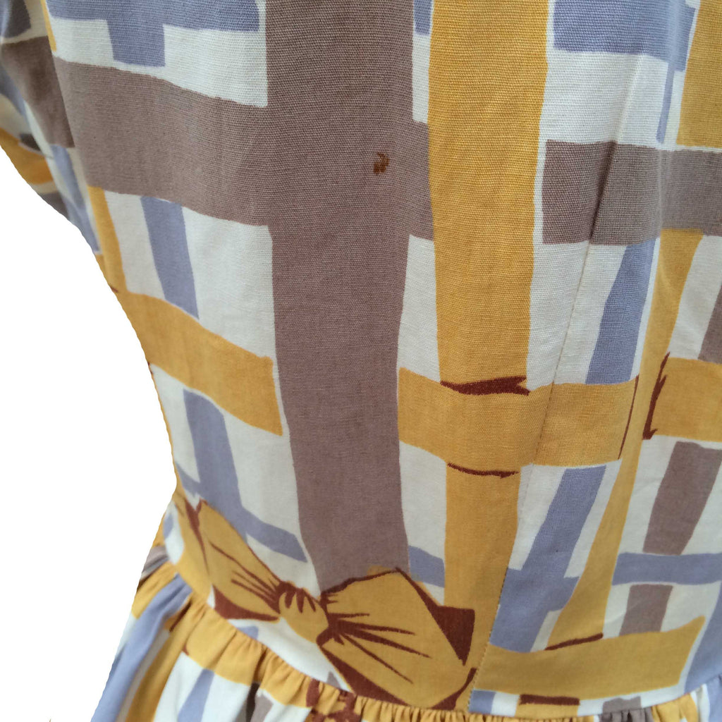 RESERVED - 1950s bow print tea dress