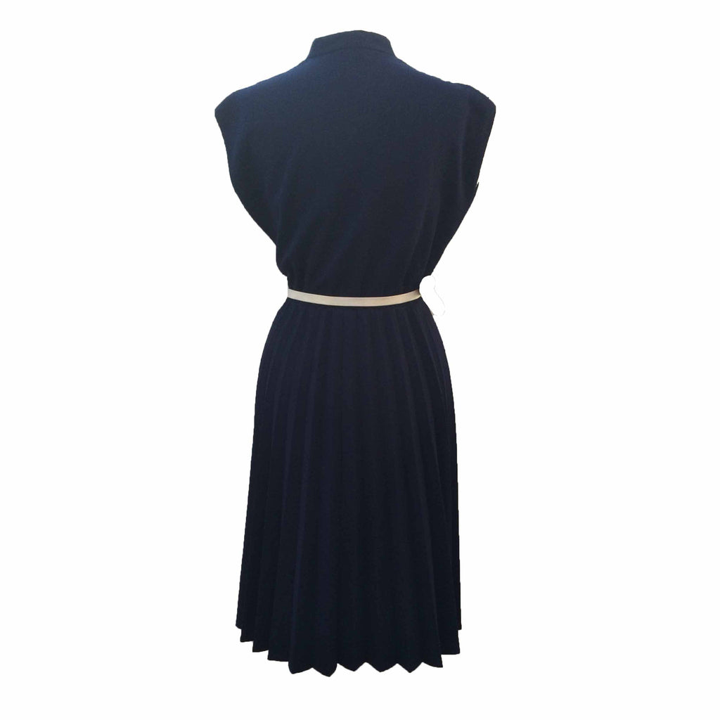 1970s navy pleated skirt vintage dress