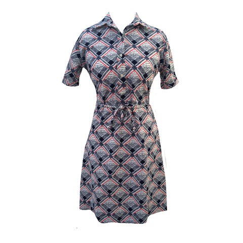 1970s checked vintage belted shift dress