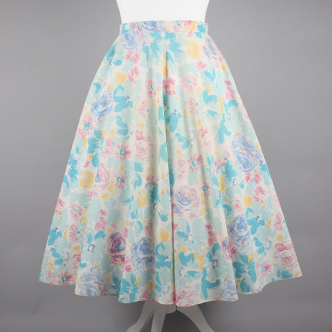 1980s pastel print vintage cotton skirt