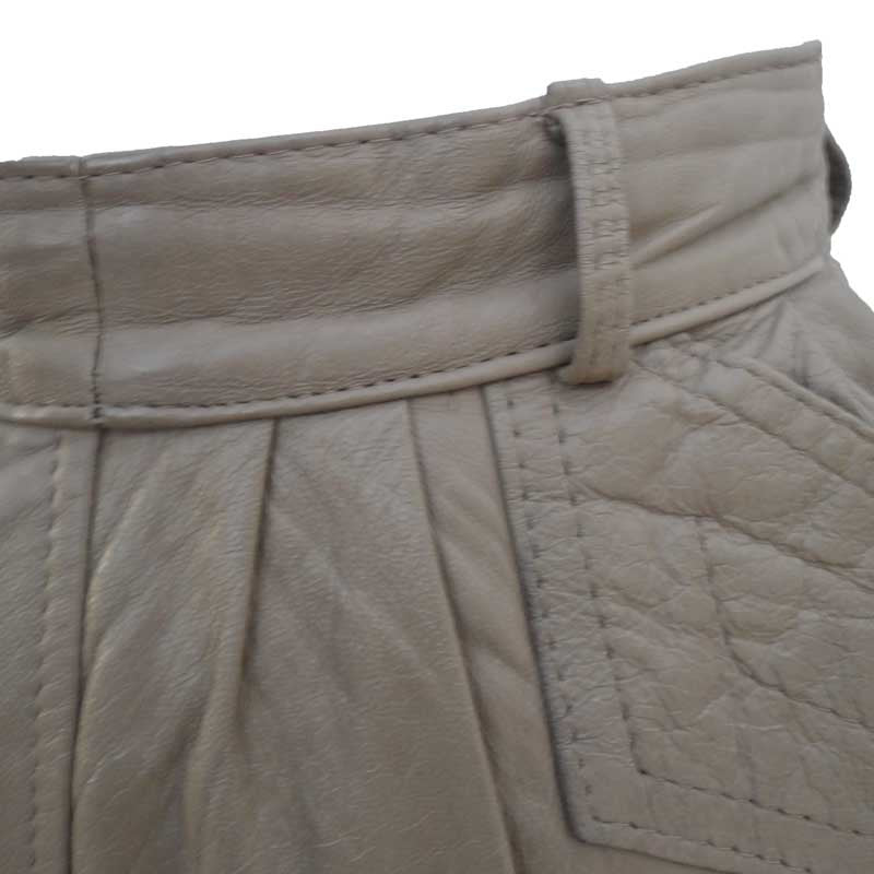 1980s taupe leather vintage pencil skirt