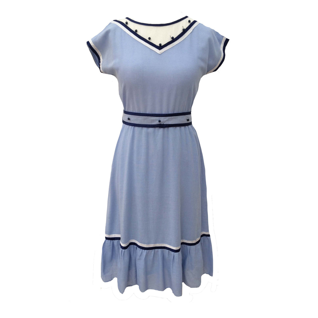 1980s pale blue vintage easy wear dress