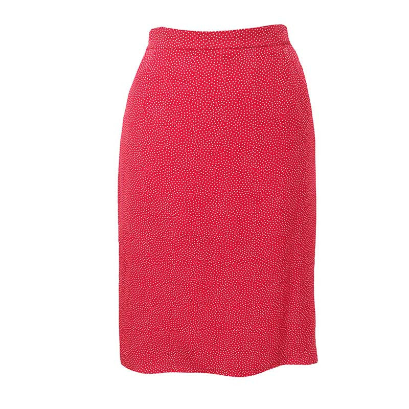 1980s red polkadot vintage pencil skirt